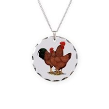 Production Red Chickens Necklace Circle Charm