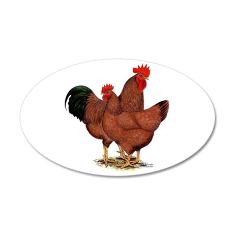 Production Red Chickens 38.5 x 24.5 Oval Wall Peel