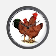 Production Red Chickens Wall Clock