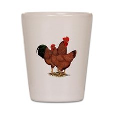 Production Red Chickens Shot Glass