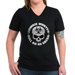 Zombie Hunter 4 Women's V-Neck Dark T-Shirt
