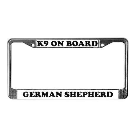 K9 On Board German Shepherd License Plate Frame