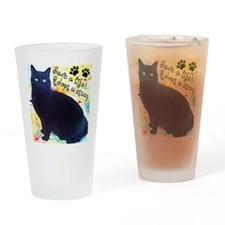 Stray Black Kitty Drinking Glass