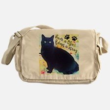 Stray Black Kitty Messenger Bag