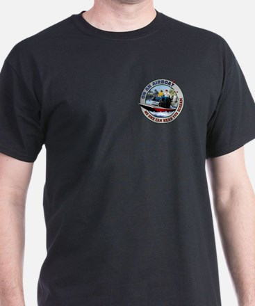 On an Airboat No One can Hear Black T-Shirt