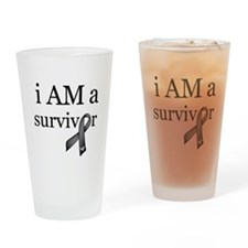 i AM a survivor (Black) Drinking Glass