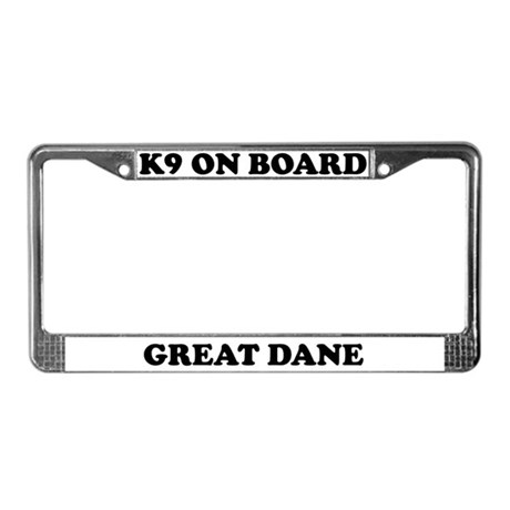 K9 On Board Great Dane License Plate Frame