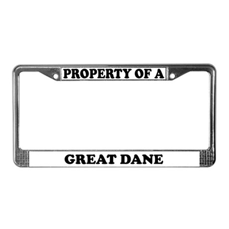 Property Of A Great Dane License Plate Frame