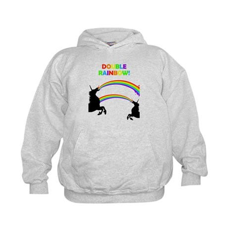 Double Rainbow Unicorn Vomit Kids Hoodie