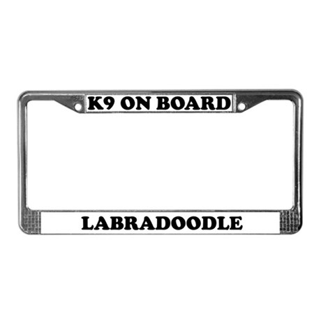 K9 On Board Labradoodle License Plate Frame