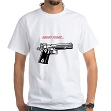shoot first ask questions later mens t T-Shirt