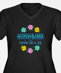 Grandchildren Joy Women's Plus Size V-Neck Dark T-