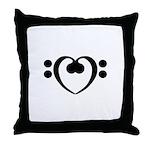 Bass Heart Throw Pillow
