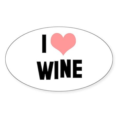 I heart Wine Sticker (Oval)