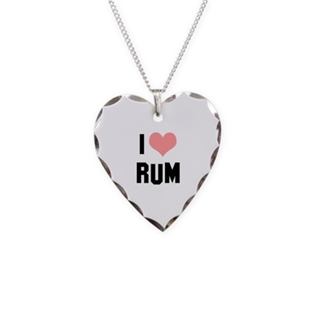 I heart Rum Necklace Heart Charm
