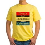 Anti illegal immigration Mens Yellow T-shirts