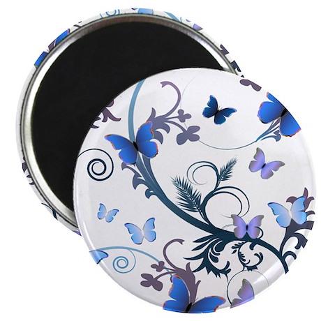 """Blue Butterflies 2.25"""" Magnet (100 pack)"""