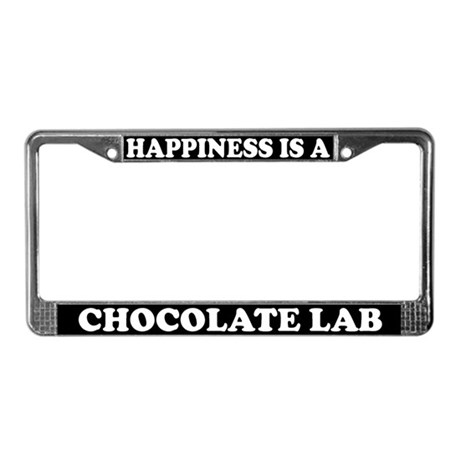 Happiness I A Chocolate Lab License Plate Frame