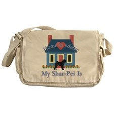 Shar Pei Home Is Messenger Bag