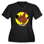 Production Red Sunburst Women's Plus Size V-Neck D