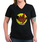 Production Red Sunburst Women's V-Neck Dark T-Shir