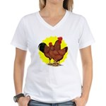Production Red Sunburst Women's V-Neck T-Shirt