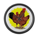 Production Red Sunburst Large Wall Clock
