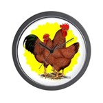 Production Red Sunburst Wall Clock