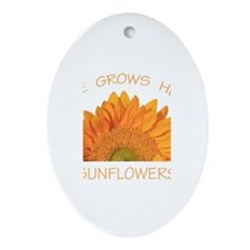 Love Grows Here Sunflowers Ornament (Oval)