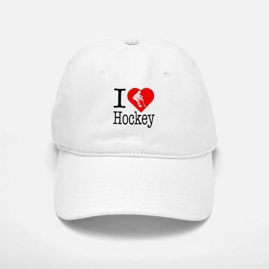 I Love Hockey Baseball Baseball Cap