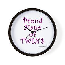Proud Nana of Twins Wall Clock