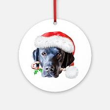 Black Lab Christmas Ornament (Round)