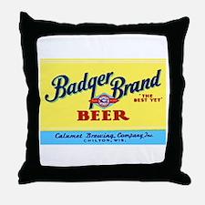 Wisconsin Beer Label 1 Throw Pillow