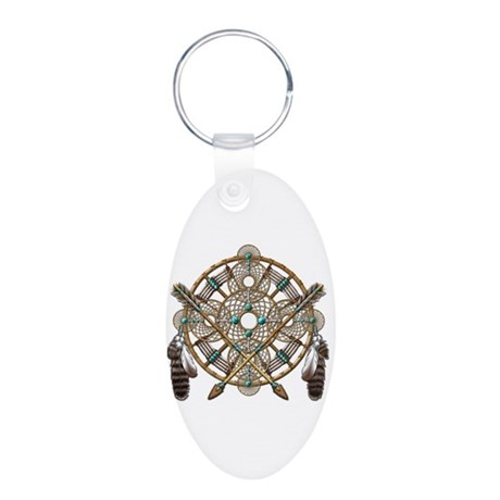Turquoise Silver Dreamcatcher Aluminum Oval Keycha