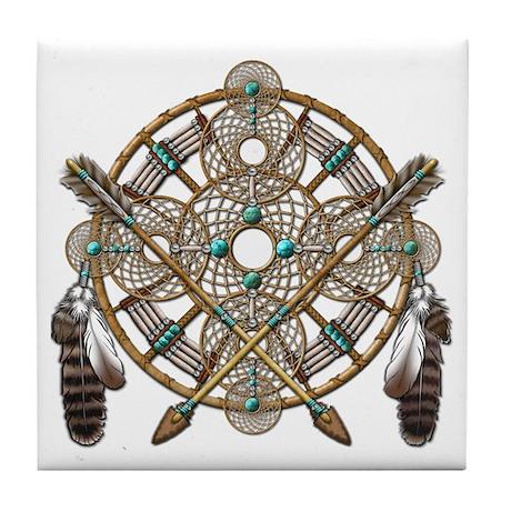 Turquoise Silver Dreamcatcher Tile Coaster