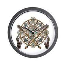 Turquoise Silver Dreamcatcher Wall Clock
