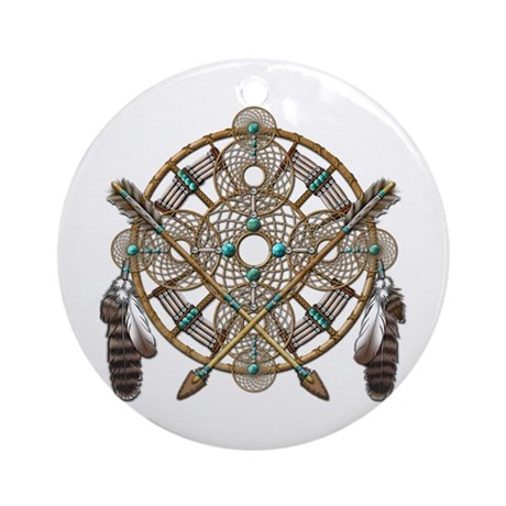 Turquoise Silver Dreamcatcher Ornament (Round)