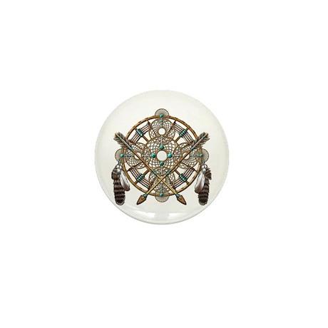 Turquoise Silver Dreamcatcher Mini Button (10 pack