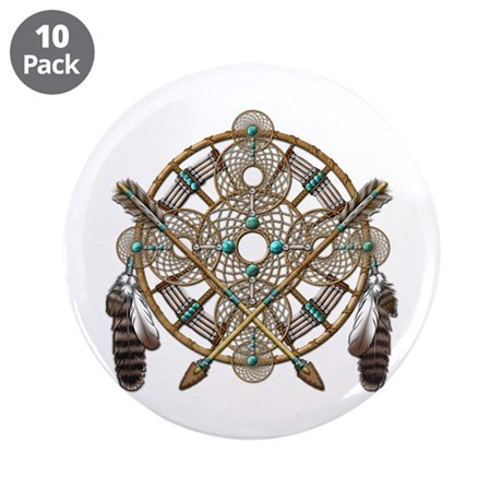 "Turquoise Silver Dreamcatcher 3.5"" Button (10 pack"