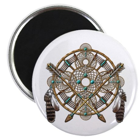 """Turquoise Silver Dreamcatcher 2.25"""" Magnet (100 pa"""