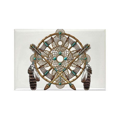 Turquoise Silver Dreamcatcher Rectangle Magnet (10