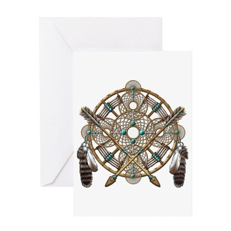 Turquoise Silver Dreamcatcher Greeting Card