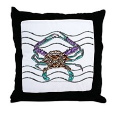 Gem Blue Crab Throw Pillow