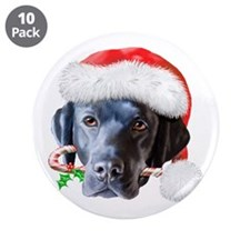 "Black Lab Christmas 3.5"" Button (10 pack)"