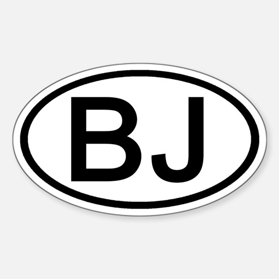 BJ - Initial Oval Oval Decal