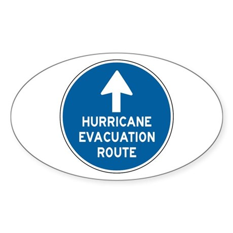 Hurricane Evacuation Route Sticker (Oval 10 pk)