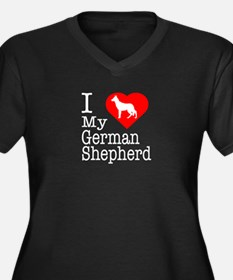 I Love My German Shepherd Women's Plus Size V-Neck