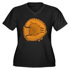 catcher's mitt Women's Plus Size V-Neck Dark T-Shi