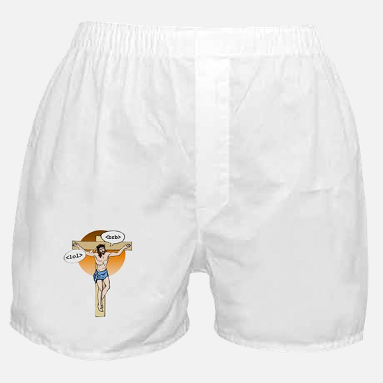 Jesus Christ brb / lol Boxer Shorts