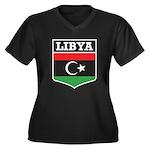 Libya Women's Plus Size V-Neck Dark T-Shirt